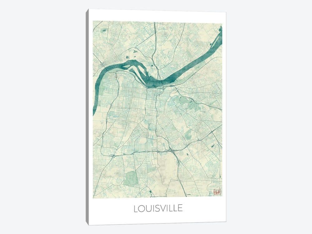 Louisville Vintage Blue Watercolor Urban Blueprint Map by Hubert Roguski 1-piece Canvas Print