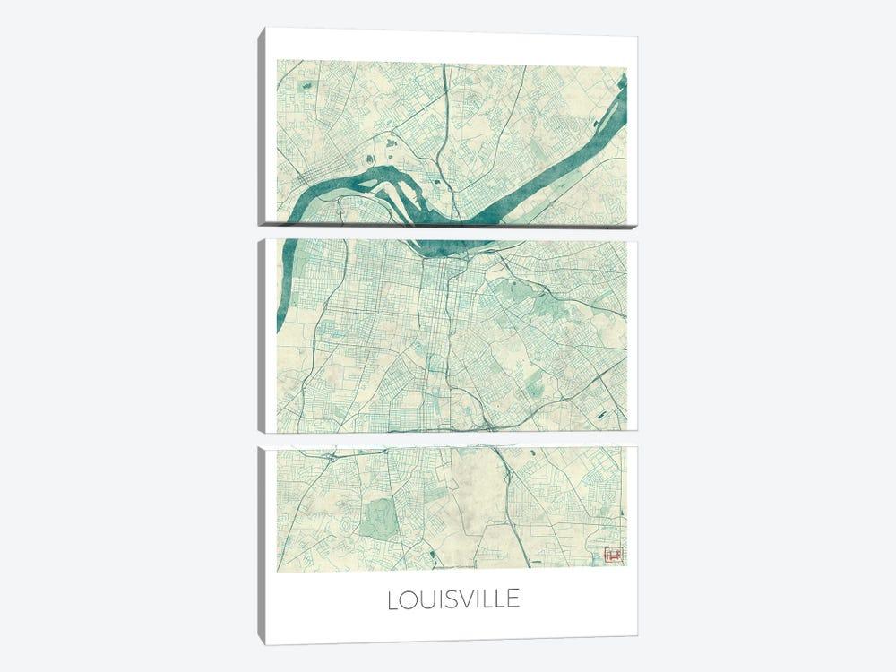 Louisville Vintage Blue Watercolor Urban Blueprint Map by Hubert Roguski 3-piece Canvas Art Print