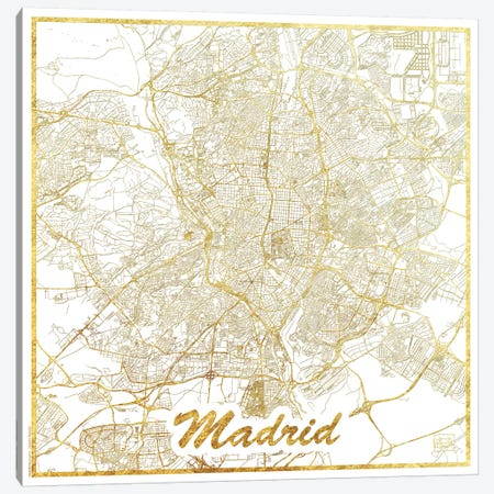 Madrid Gold Leaf Urban Blueprint Map Canvas Print #HUR201} by Hubert Roguski Canvas Artwork