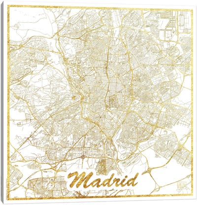 Madrid Gold Leaf Urban Blueprint Map Canvas Art Print
