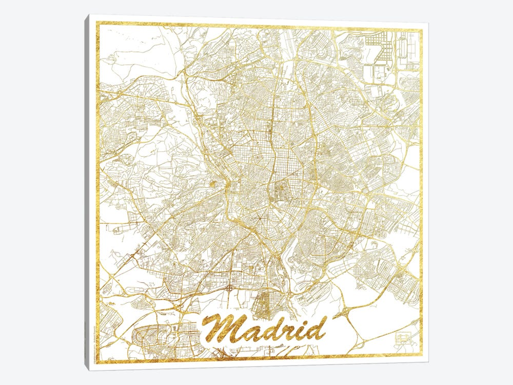 Madrid Gold Leaf Urban Blueprint Map by Hubert Roguski 1-piece Canvas Art
