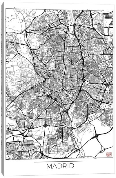 Madrid Minimal Urban Blueprint Map Canvas Art Print