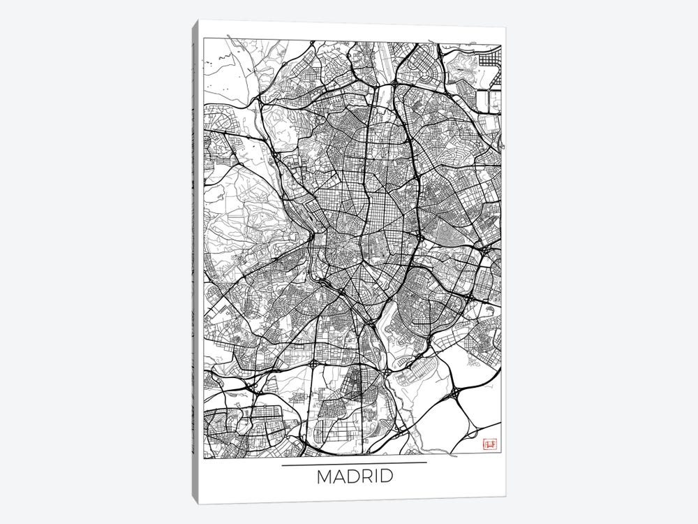 Madrid Minimal Urban Blueprint Map by Hubert Roguski 1-piece Canvas Print