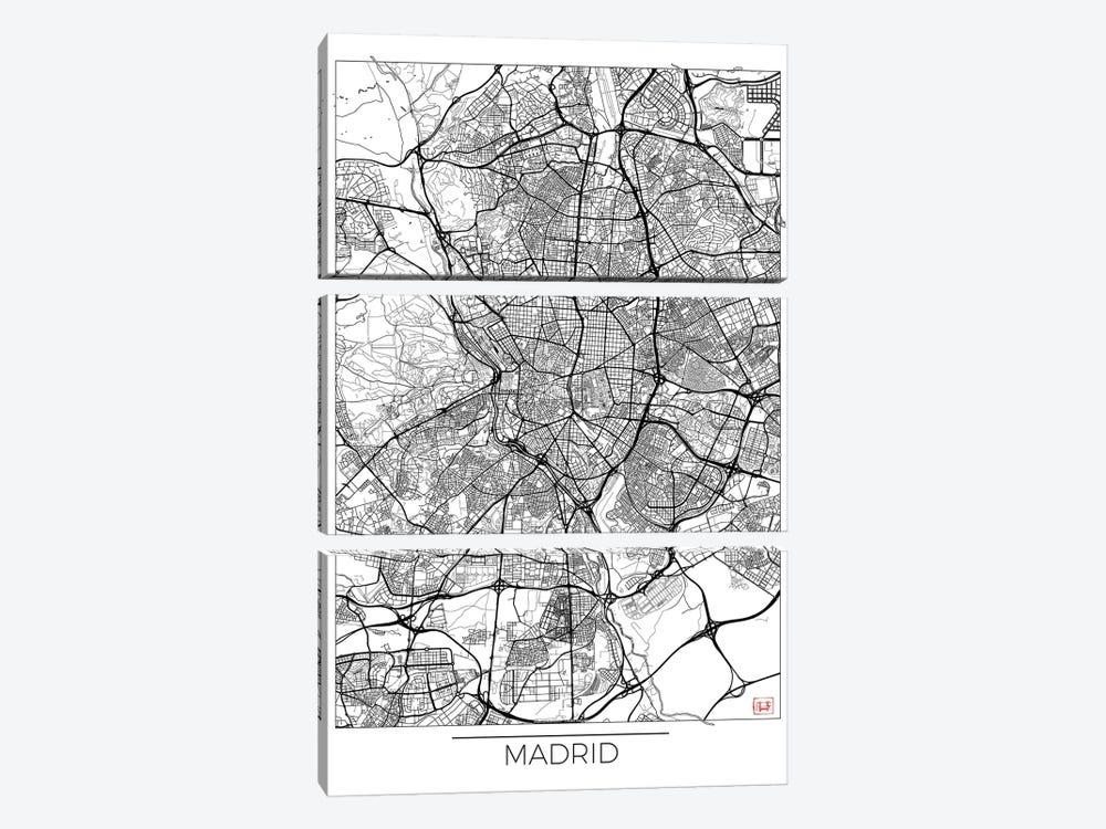 Madrid Minimal Urban Blueprint Map by Hubert Roguski 3-piece Canvas Print