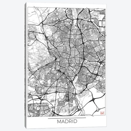 Madrid Minimal Urban Blueprint Map 3-Piece Canvas #HUR202} by Hubert Roguski Canvas Wall Art