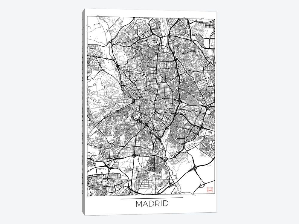 Madrid Minimal Urban Blueprint Map by Hubert Roguski 1-piece Canvas Print