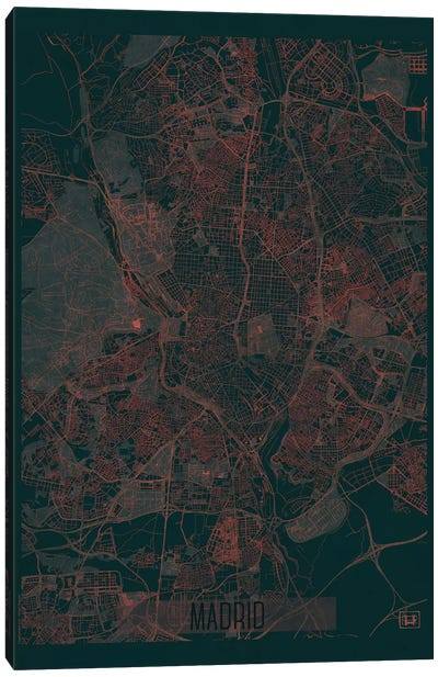 Madrid Infrared Urban Blueprint Map Canvas Art Print