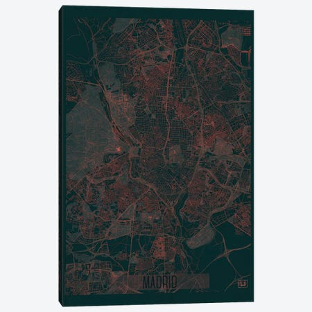 Madrid Infrared Urban Blueprint Map 3-Piece Canvas #HUR203} by Hubert Roguski Canvas Art