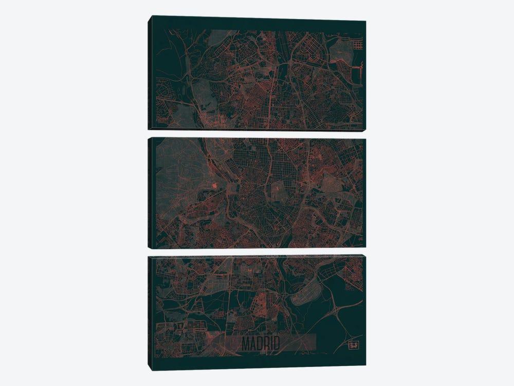 Madrid Infrared Urban Blueprint Map by Hubert Roguski 3-piece Canvas Art