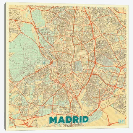 Madrid Retro Urban Blueprint Map Canvas Print #HUR204} by Hubert Roguski Canvas Art Print