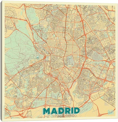 Madrid Retro Urban Blueprint Map Canvas Art Print