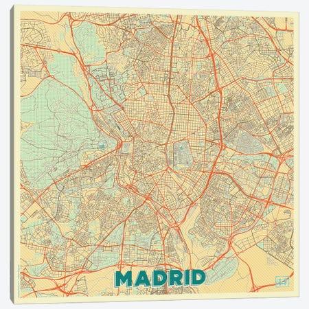 Madrid Retro Urban Blueprint Map Canvas Print #HUR204} by Hubert Roguski Canvas Art Print
