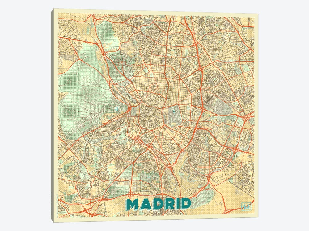 Madrid Retro Urban Blueprint Map by Hubert Roguski 1-piece Canvas Print