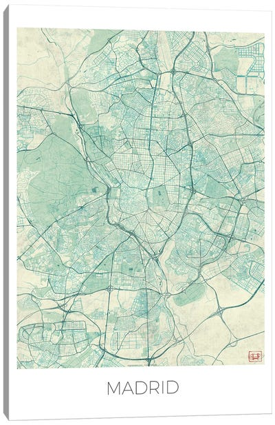 Madrid Vintage Blue Watercolor Urban Blueprint Map Canvas Art Print