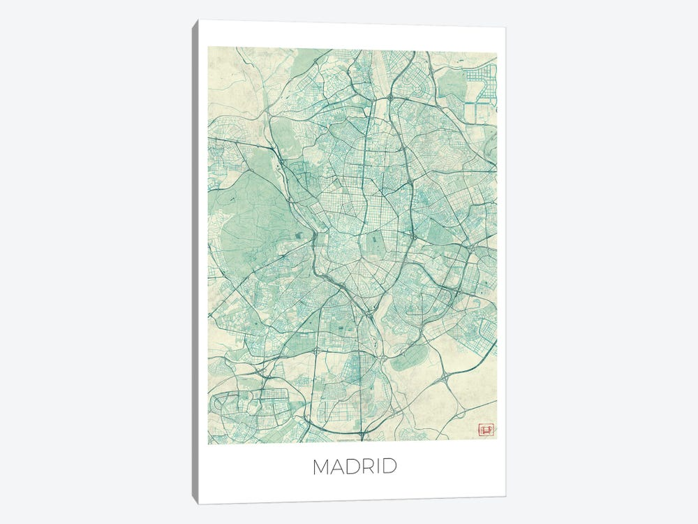 Madrid Vintage Blue Watercolor Urban Blueprint Map by Hubert Roguski 1-piece Canvas Artwork