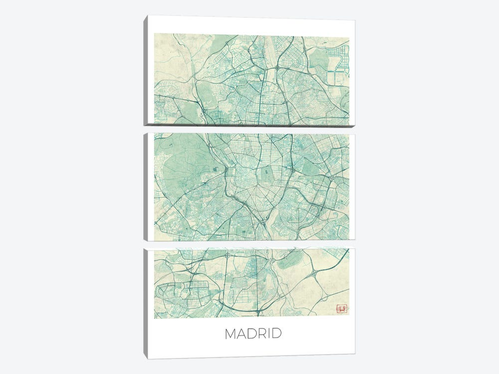 Madrid Vintage Blue Watercolor Urban Blueprint Map by Hubert Roguski 3-piece Canvas Wall Art