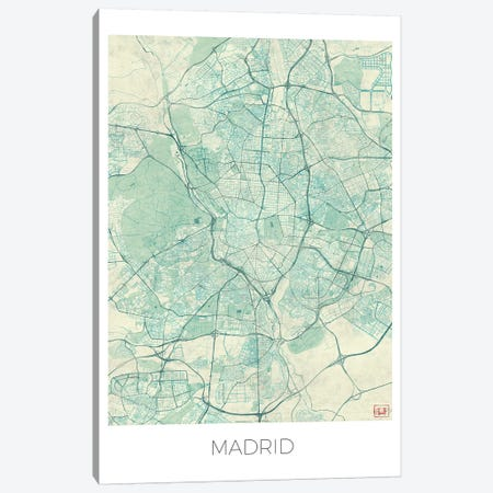 Madrid Vintage Blue Watercolor Urban Blueprint Map 3-Piece Canvas #HUR205} by Hubert Roguski Canvas Art Print