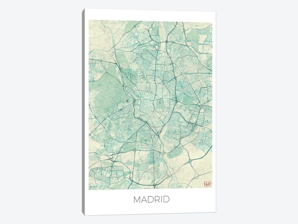 Madrid Vintage Blue Watercolor Urban Blueprint Map by Hubert Roguski 1-piece Canvas Artwork