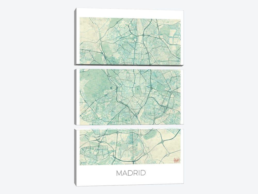 Madrid Vintage Blue Watercolor Urban Blueprint Map by Hubert Roguski 3-piece Canvas Wall Art