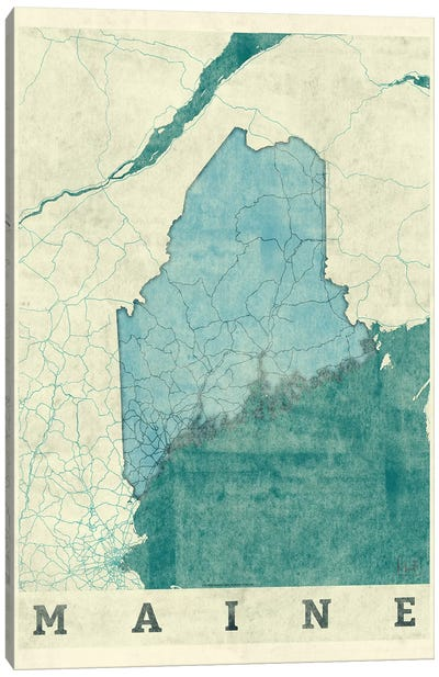 Maine Map Canvas Art Print
