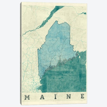Maine Map Canvas Print #HUR206} by Hubert Roguski Canvas Print