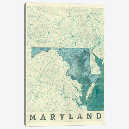 Maryland Map Canvas Print #HUR207} by Hubert Roguski Art Print