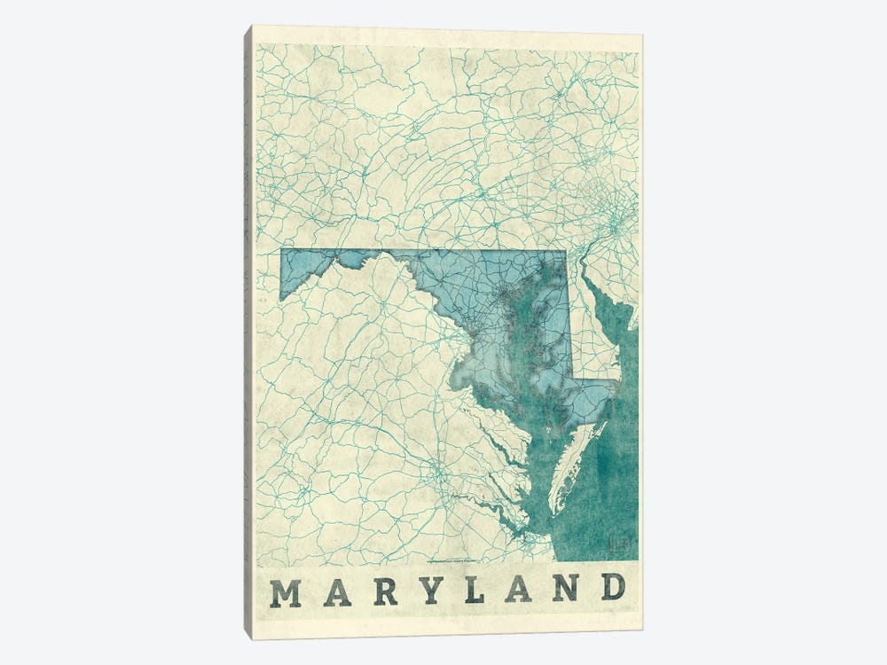 Maryland Map 1-piece Canvas Artwork