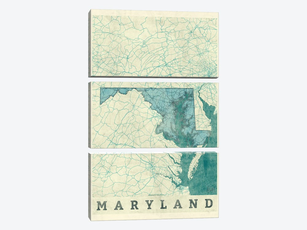 Maryland Map 3-piece Canvas Wall Art