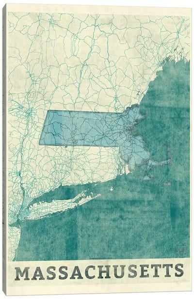 Massachusetts Map Canvas Art Print