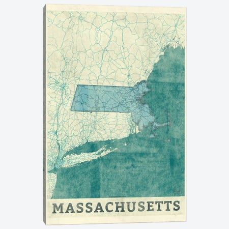 Massachusetts Map 3-Piece Canvas #HUR208} by Hubert Roguski Canvas Wall Art