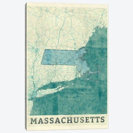Massachusetts Map Canvas Print #HUR208} by Hubert Roguski Canvas Wall Art