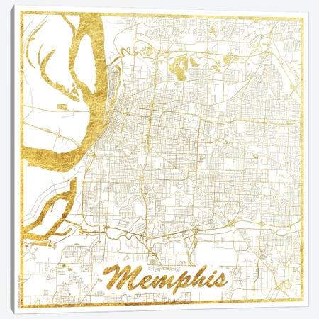Memphis Gold Leaf Urban Blueprint Map 3-Piece Canvas #HUR209} by Hubert Roguski Canvas Art