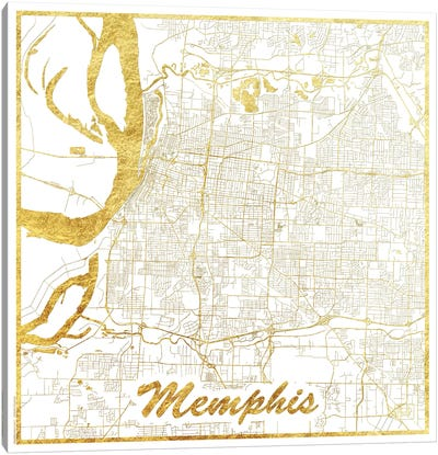 Memphis Gold Leaf Urban Blueprint Map Canvas Art Print