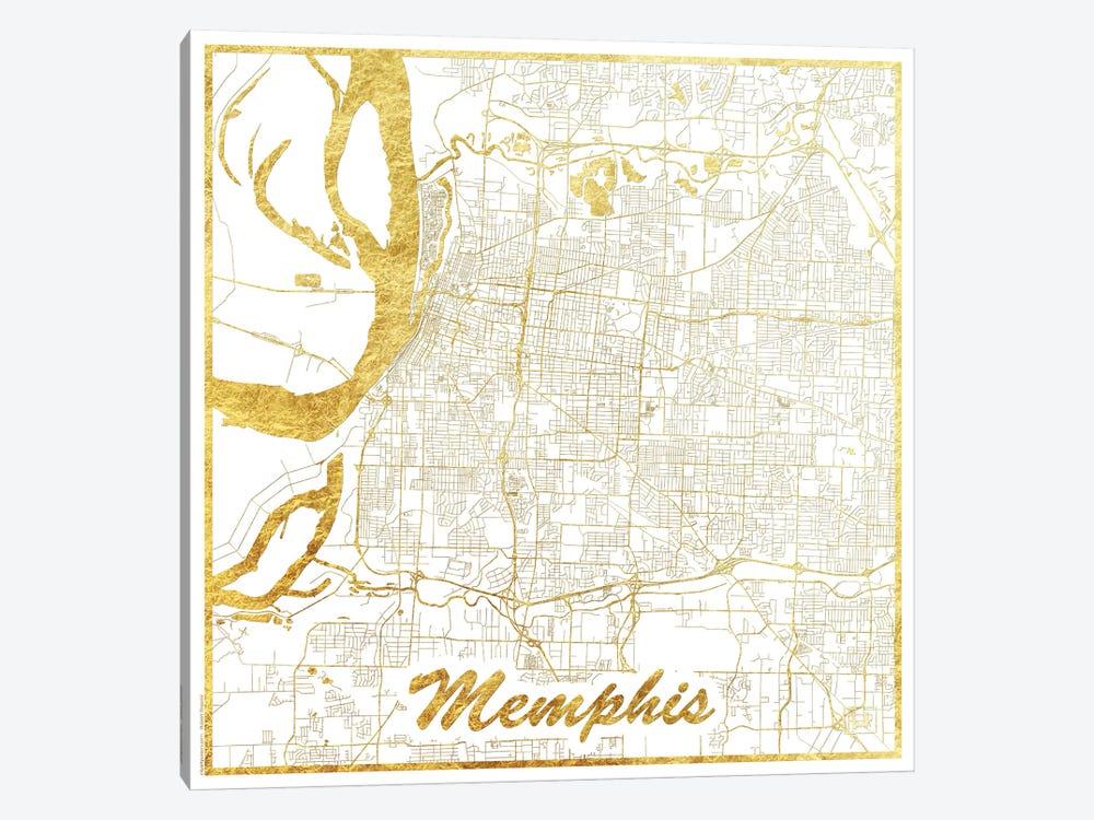 Memphis Gold Leaf Urban Blueprint Map by Hubert Roguski 1-piece Canvas Art