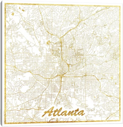 Atlanta Gold Leaf Urban Blueprint Map Canvas Art Print
