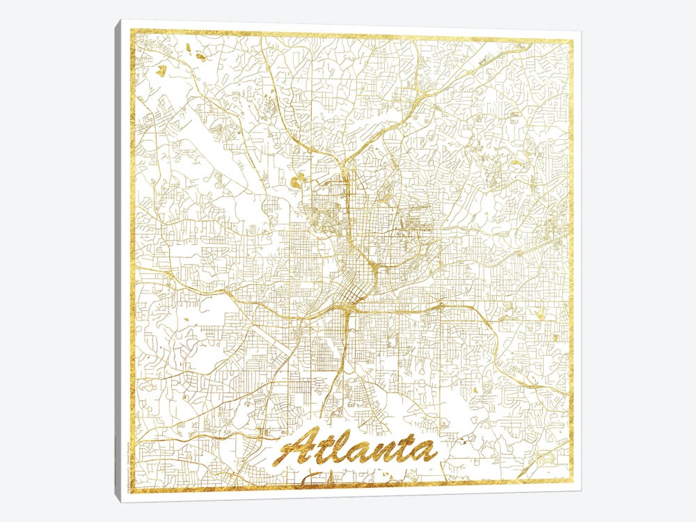Atlanta Gold Leaf Urban Blueprint Map by Hubert Roguski 1-piece Canvas Artwork