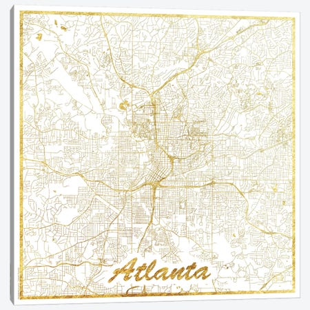 Atlanta Gold Leaf Urban Blueprint Map 3-Piece Canvas #HUR20} by Hubert Roguski Canvas Print