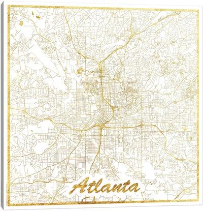 Atlanta Gold Leaf Urban Blueprint Map Canvas Art Print