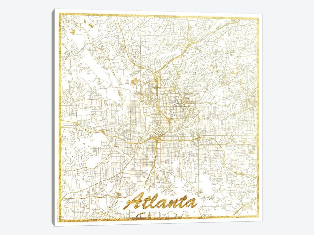 Atlanta Gold Leaf Urban Blueprint Map by Hubert Roguski 1-piece Canvas Artwork
