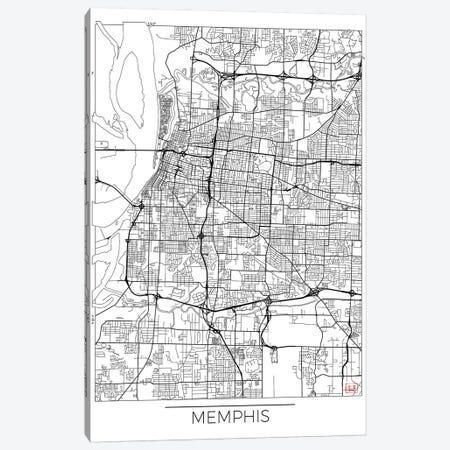 Memphis Minimal Urban Blueprint Map 3-Piece Canvas #HUR210} by Hubert Roguski Canvas Print
