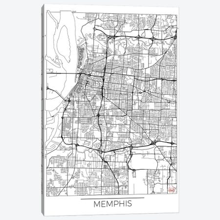 Memphis Minimal Urban Blueprint Map Canvas Print #HUR210} by Hubert Roguski Canvas Print