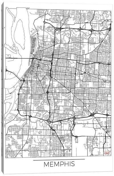 Memphis Minimal Urban Blueprint Map Canvas Art Print