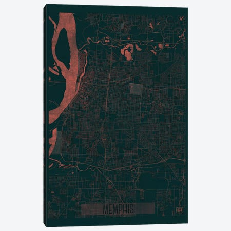 Memphis Infrared Urban Blueprint Map Canvas Print #HUR211} by Hubert Roguski Canvas Art Print
