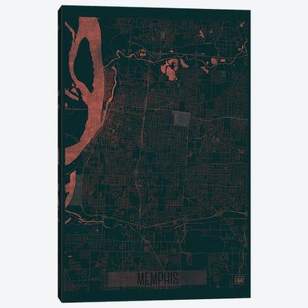 Memphis Infrared Urban Blueprint Map 3-Piece Canvas #HUR211} by Hubert Roguski Canvas Art Print