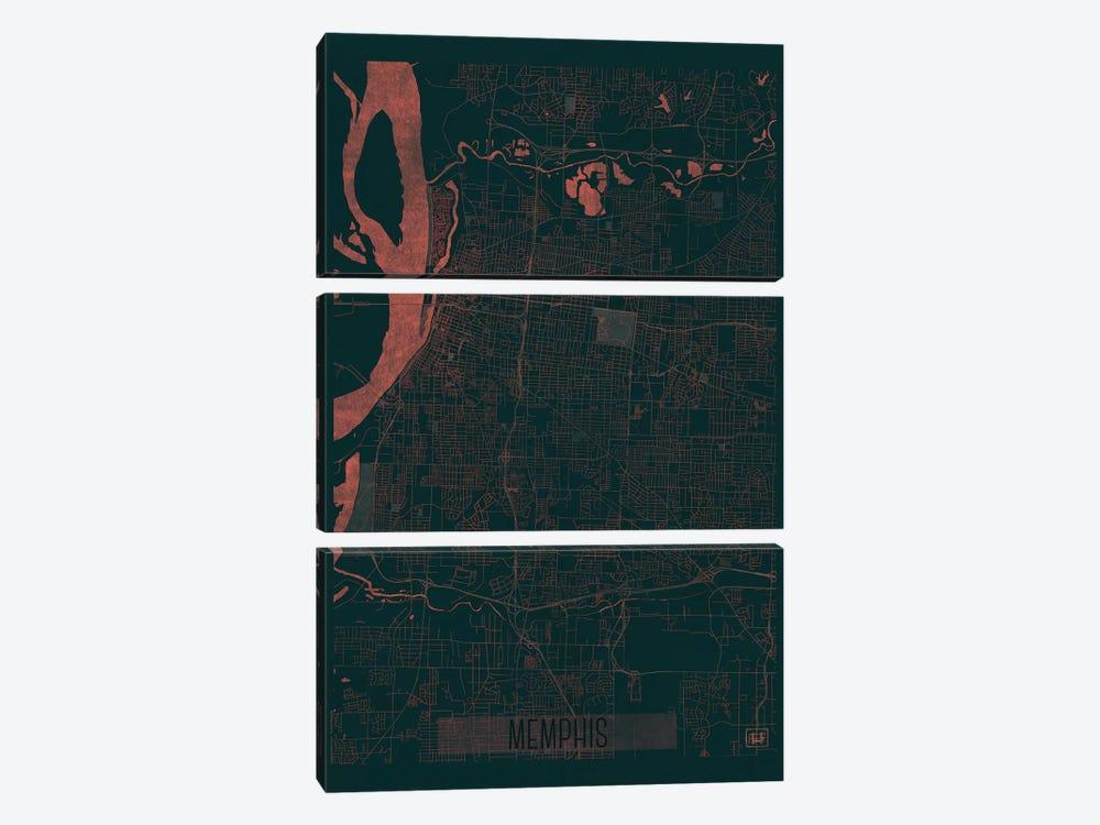 Memphis Infrared Urban Blueprint Map by Hubert Roguski 3-piece Canvas Art Print