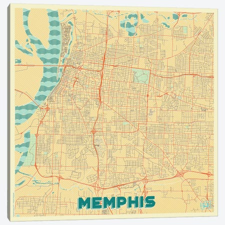 Memphis Retro Urban Blueprint Map Canvas Print #HUR212} by Hubert Roguski Art Print
