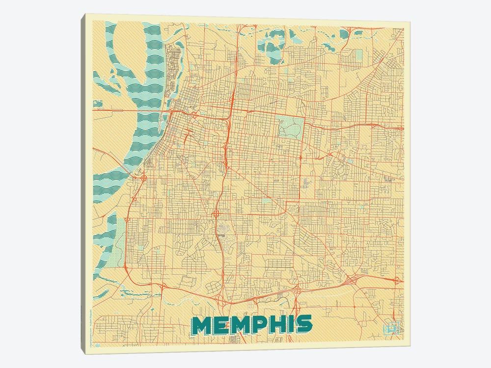 Memphis Retro Urban Blueprint Map by Hubert Roguski 1-piece Canvas Artwork