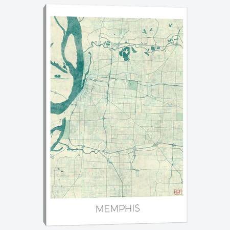 Memphis Vintage Blue Watercolor Urban Blueprint Map Canvas Print #HUR213} by Hubert Roguski Art Print