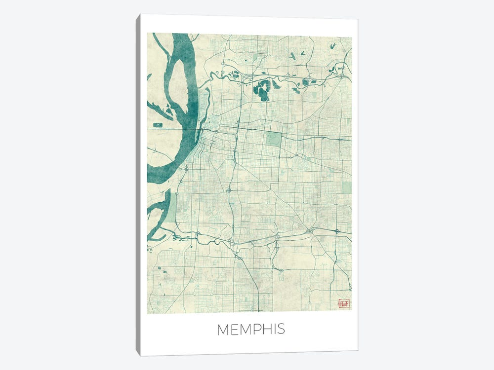 Memphis Vintage Blue Watercolor Urban Blueprint Map by Hubert Roguski 1-piece Art Print