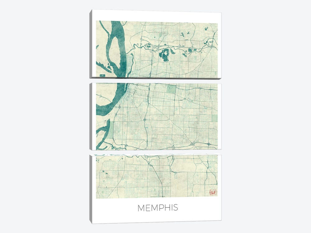 Memphis Vintage Blue Watercolor Urban Blueprint Map by Hubert Roguski 3-piece Art Print